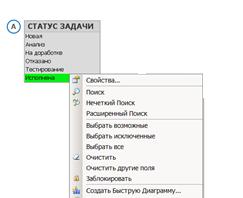 Контекстное меню QlikView