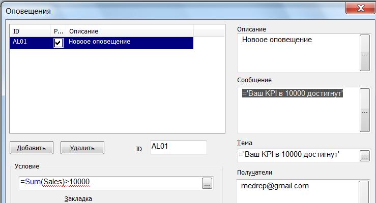 Оповещения в QlikView