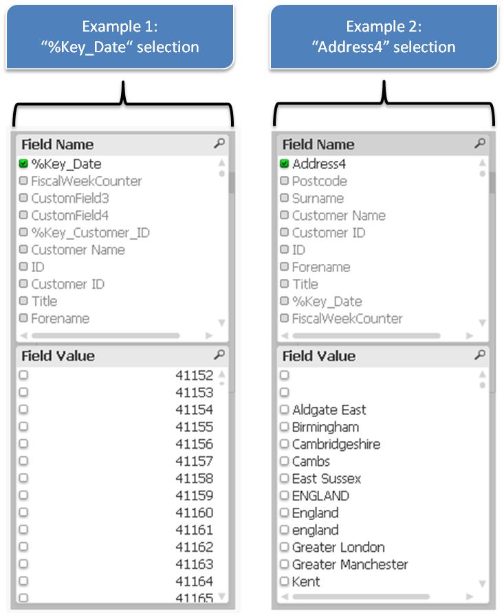 Фильтры QlikView, List Box QlikView, Named Value Pairs