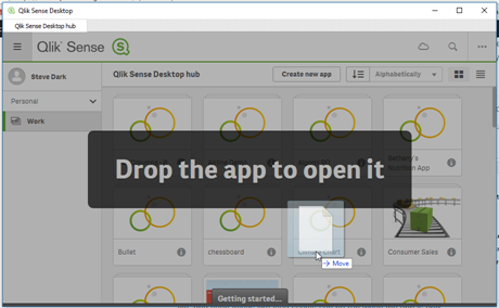 Drop Qlik Sense App To Open In Situ