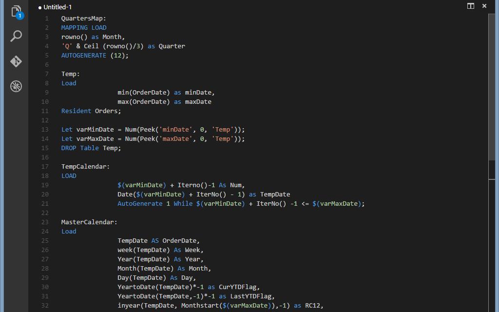 Qlik: подсветка кода Visual Studio