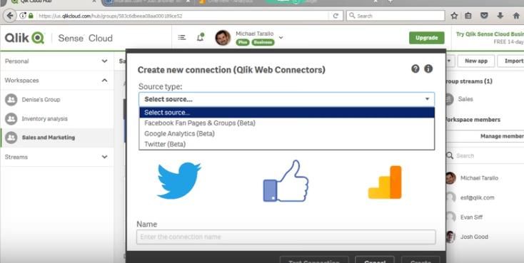 Qlik Sense Cloud Business: подключение к Facebook, Twitter и Google Analytics